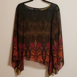 Bebe Sheer Multi Color Top...S